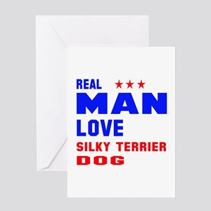 Real Man Love Silky Terrier Dog Greeting Card