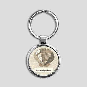 Customizable Seashell Scallop Fabric Collage Keych
