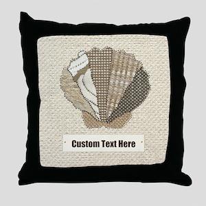 Customizable Seashell Scallop Fabric Collage Throw