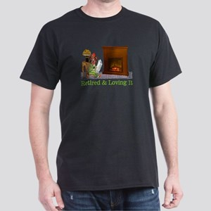 Retired Dog Lounging By The Fire Dark T-Shirt