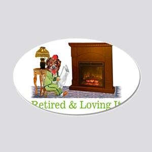 Retired Dog Lounging By The Fire 20x12 Oval Wall D