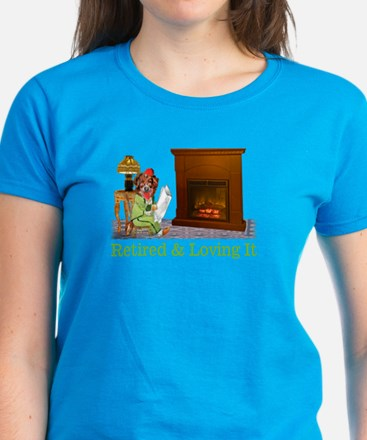 Retired Dog Lounging By The Fire Women's Dark T-Sh