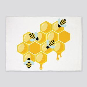 Honey Beehive 5'x7'Area Rug
