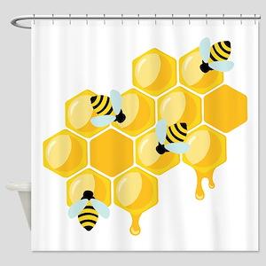 Honey Beehive Shower Curtain