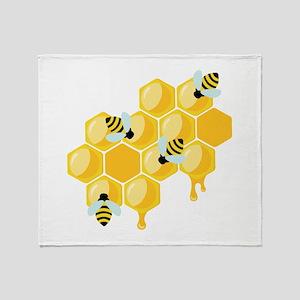 Honey Beehive Throw Blanket