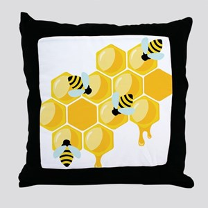 Honey Beehive Throw Pillow