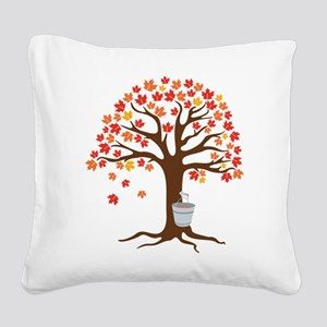Maple Syrup Tree Square Canvas Pillow
