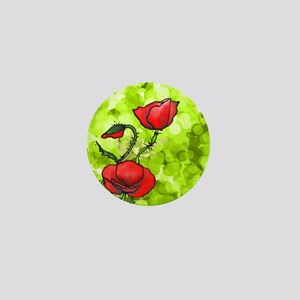 Red Poppies Green Background Mini Button