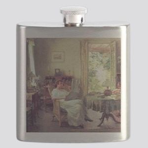 Summer at Hadlyme, Willard Metcalf painting Flask