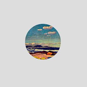 Seashore, Nova Scotia, painting by J.E Mini Button