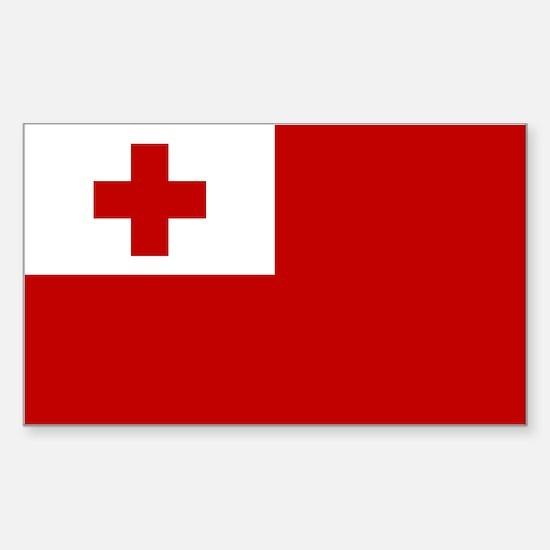 Tonga Flag Sticker (Rectangle)