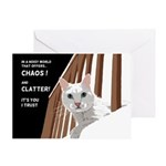 White Cat Card Greeting Cards