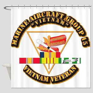 USMC - MAG-15 w VN SVC Ribbon Shower Curtain