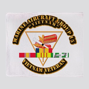 USMC - MAG-15 w VN SVC Ribbon Throw Blanket