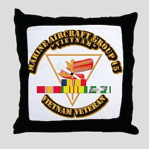 USMC - MAG-15 w VN SVC Ribbon Throw Pillow