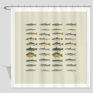Freshwater Fish Chart Shower Curtain