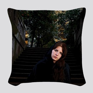 Girl on Stairs Woven Throw Pillow