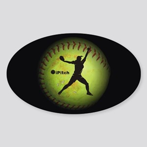 iPitch Fastpitch Softball (left han Sticker (Oval)