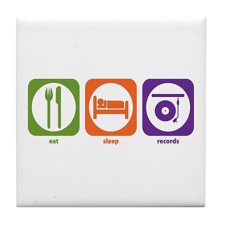 Eat Sleep Records Tile Coaster