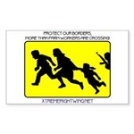 Border Crossing Sign Sticker (Rect.)