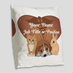 Personalized Veterinary Burlap Throw Pillow