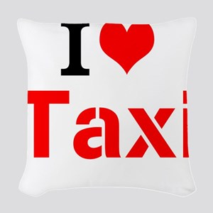 I Love Taxi Woven Throw Pillow