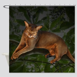 Brown Cat Sleeping On A Branch Shower Curtain