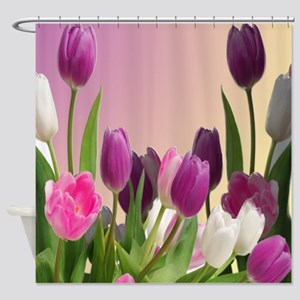 Large Purple and White Tulips Shower Curtain