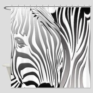 Silver Zebra Fantasy Shower Curtain