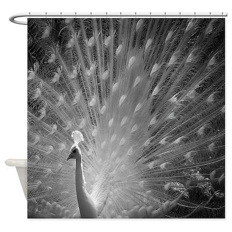 Albino Peacock Shower Curtain