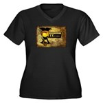 Horizontal Women's Plus Size V-Neck Dark T-Shirt