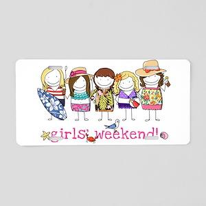 Girls Weekend Pink Aluminum License Plate