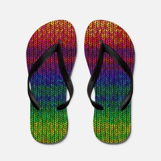 Rainbow Knit Photo Flip Flops