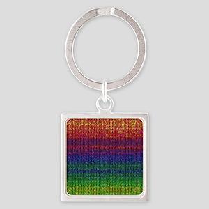 Rainbow Knit Photo Square Keychain