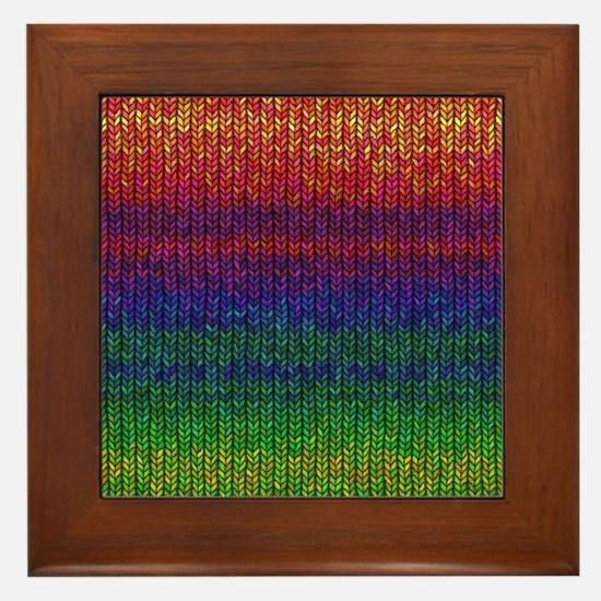 Rainbow Knit Photo Framed Tile
