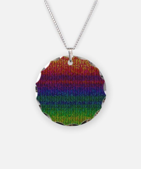 Rainbow Knit Photo Necklace