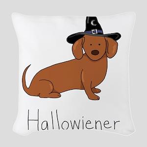 Halloween Wiener Dog Woven Throw Pillow