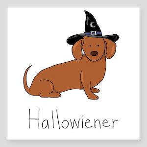 "Halloween Wiener Dog Square Car Magnet 3"" x 3"""