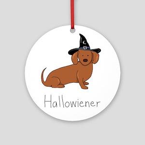 Halloween Wiener Dog Ornament (Round)