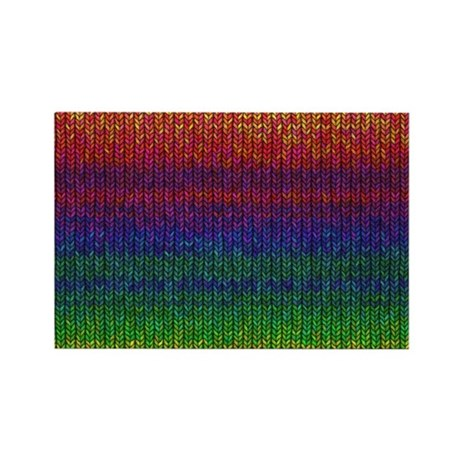 Rainbow Knit Photo Rectangle Magnet (10 pack)