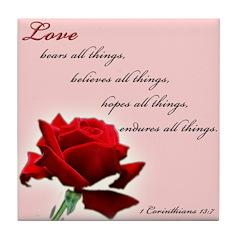 Love (1 Cor 13:7) Tile Coaster