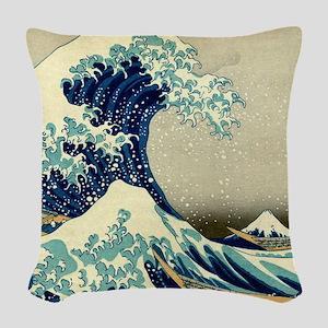 The Great Wave off Kanagawa Woven Throw Pillow