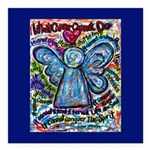 Colorful Cancer Angel Square Car Magnet 3