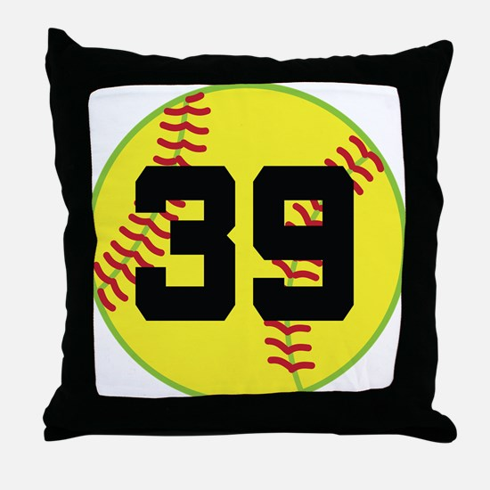 Softball Sports Player Number 39 Throw Pillow