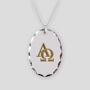"""""""3-D"""" Golden Alpha and Omega Symbol Necklace Oval"""