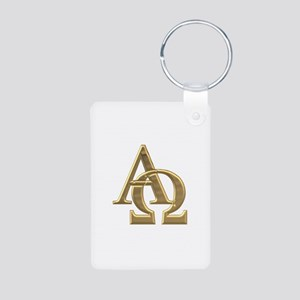 """3-D"" Golden Alpha and Omega Symbol Aluminum Photo"