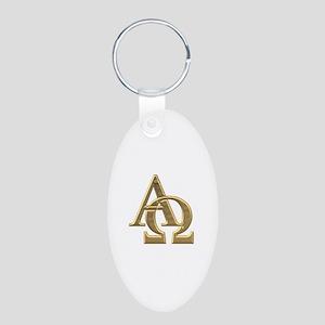 """""""3-D"""" Golden Alpha and Omega Symbol Aluminum Oval"""