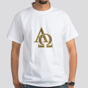 """3-D"" Golden Alpha and Omega Symbol White T-Shirt"