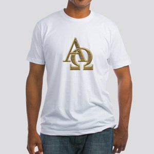 """3-D"" Golden Alpha and Omega Symbol Fitted T-Shirt"