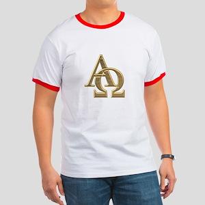 """""""3-D"""" Golden Alpha and Omega Symbol Ringer T"""